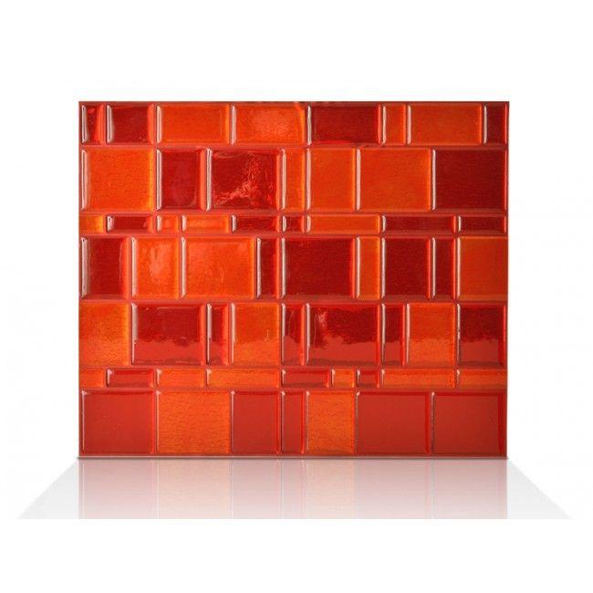 Tango Ruby Nouveaute 2014 Melange De Rouge Et Orange Notre Gel O Donne L Effet 3d A Cette Plaque Adhes Tuile De Dosseret Carreaux Decoratifs Carrelage Mural