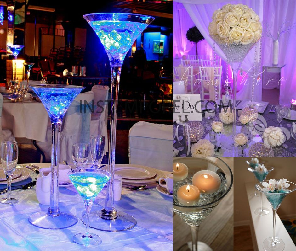 Choisir son centre de table de mariage id es de centres de table martini et centres de table - Centre de table verre martini ...