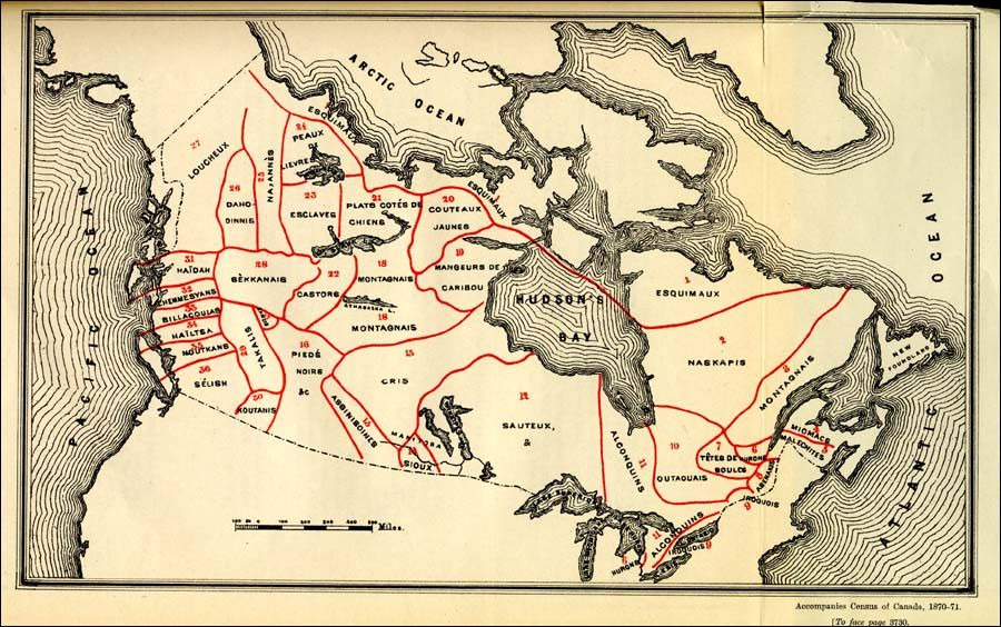Map Of Canada 1870.Map Of Canada Indicating The Territory Occupied By Each Aboriginal
