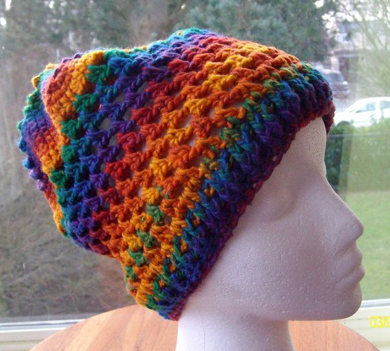 Bright Colored Crocheted Hat by Poulsbohemian on Etsy, $43.00