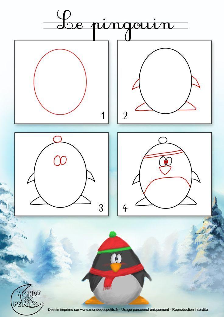 pinguin plus gem l zeichnen lernen f r kinder. Black Bedroom Furniture Sets. Home Design Ideas