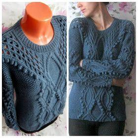 """Knitting Stories by Venera: Вязаный пуловер """"На побережье..."""""""
