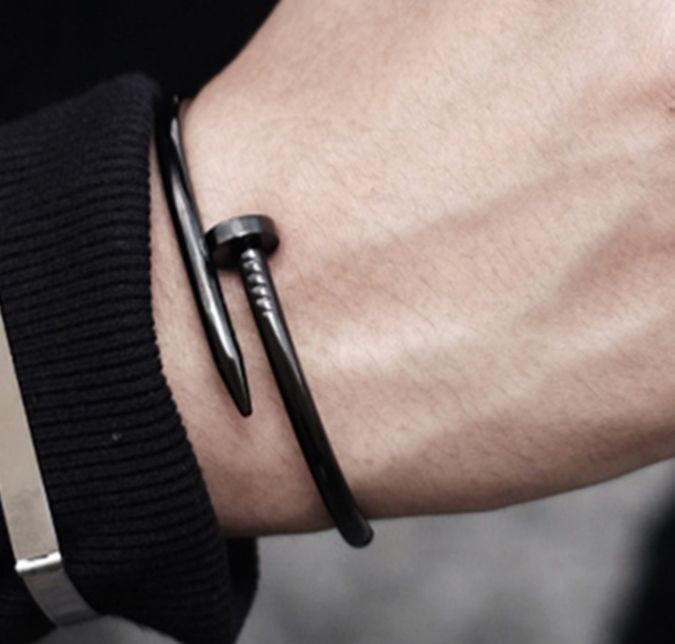 Men Stainless Steel Bangle Twisted Nail