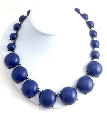 Vintage Signed Trifari (?) Large Blue Opaque Glass Cabochon Japanned Necklace
