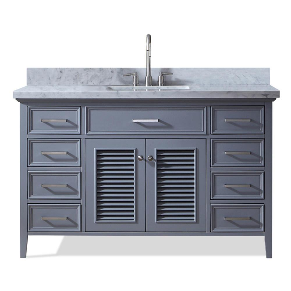 Ariel Kensington 55 In Bath Vanity In Grey With Marble Vanity Top In Carrara White With White Basin D055s Vo Gry The Home Depot Single Sink Bathroom Vanity Marble Vanity Tops Single Sink