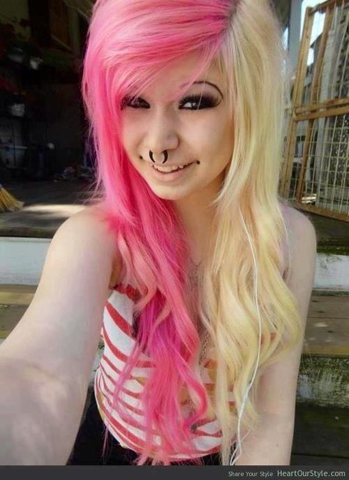 Pink and blonde emo hair erotica