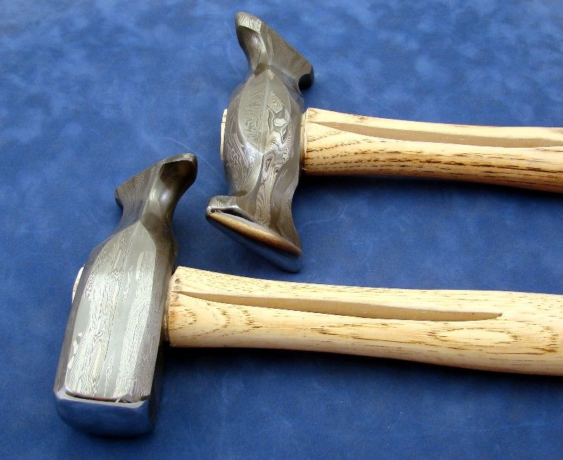 Damascus forging hammers by master smith ed caffrey of