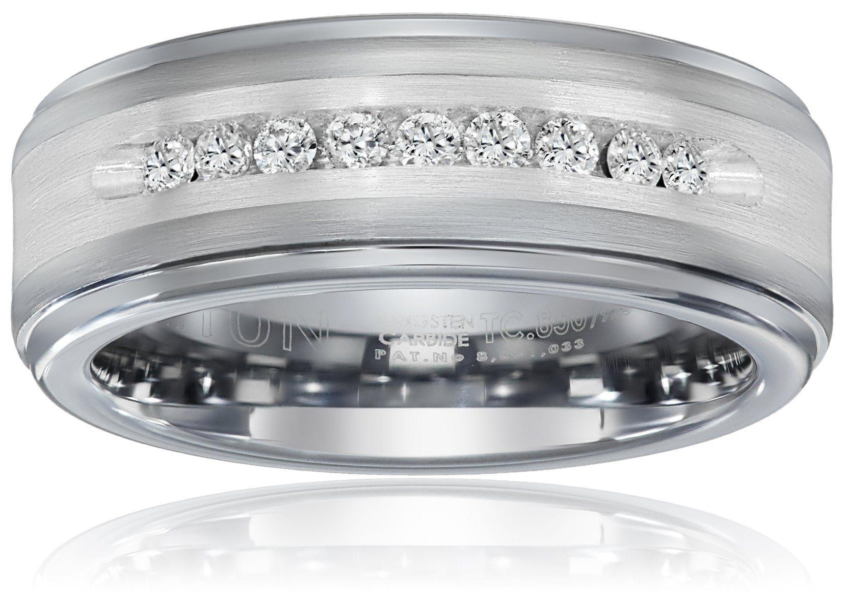 Triton Men's Tungsten and Silver 8mm Comfort Fit Diamond