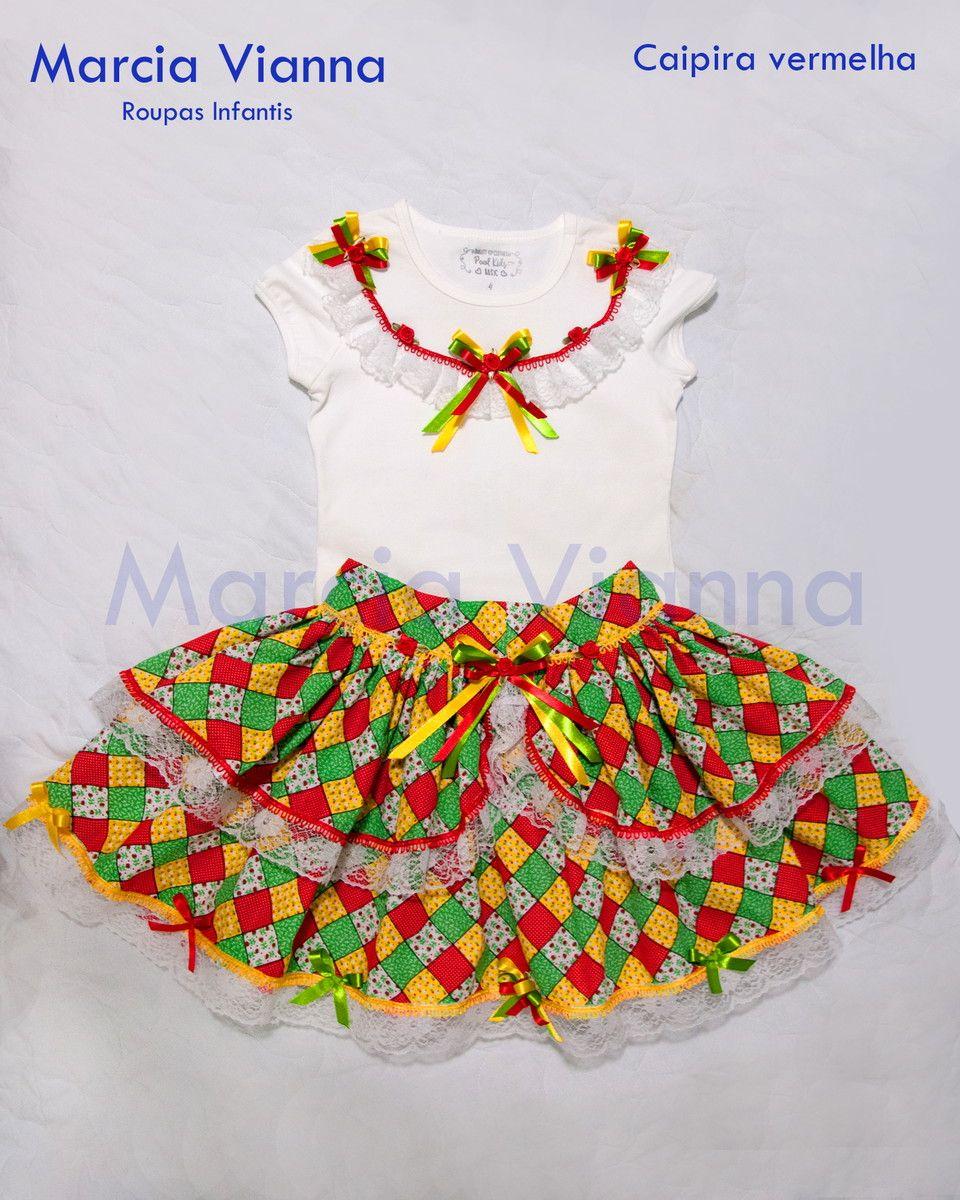 bc40b3d898 Caipira infantil blusa e saia  Acompanha maria chiquinha  Faço outros  tamanhos por encomenda e sob medida. Em caso de indisponibilidade