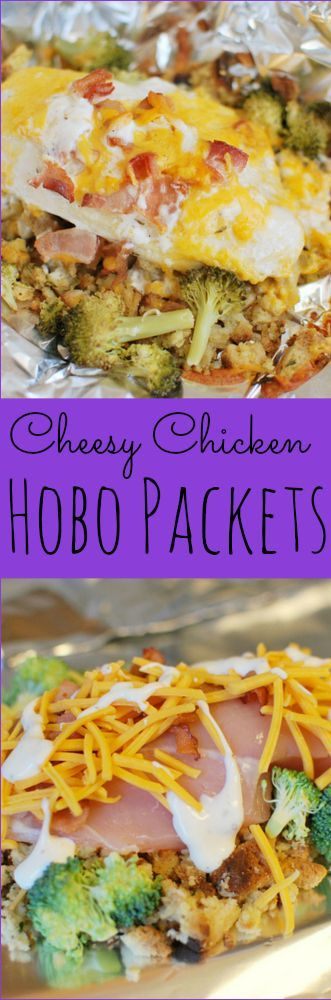Cheesy Chicken Hobo Packets - stuffing, chicken, broccoli, bacon, and cheese all layered and cooked in foil packets. Easiest dinner ever! #chickenbreastrecipeseasy