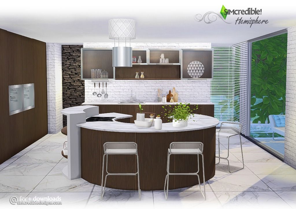 Hemisphere kitchen by simcredible sims 4 counter for Sims 3 kitchen designs