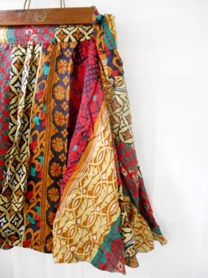 Vintage 100 silk boho Skirt by houuseofwren on Etsy,