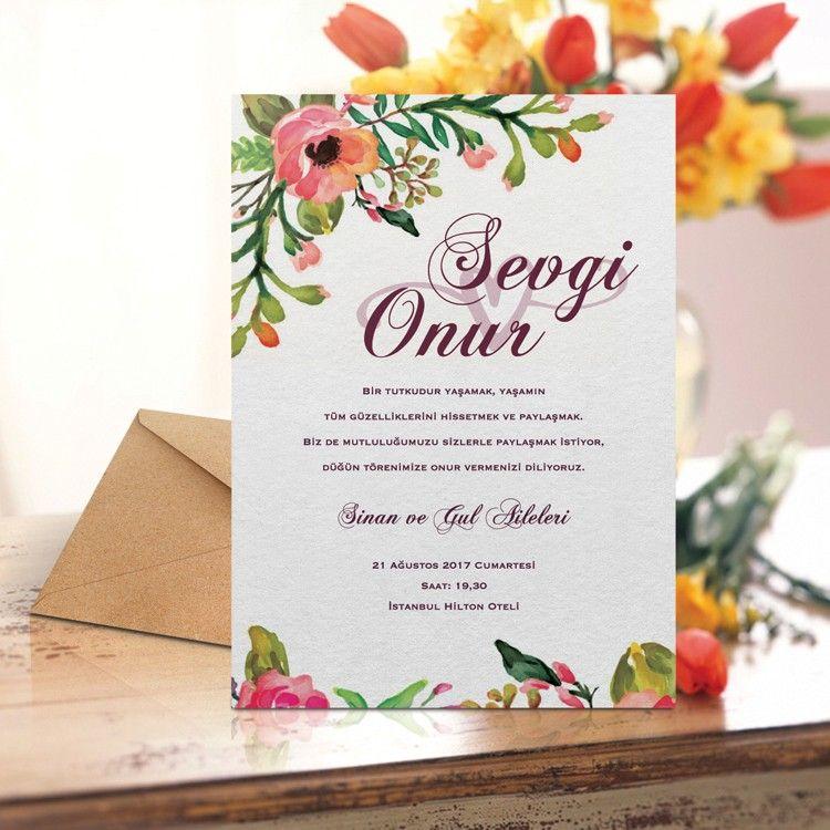 card templates for wedding invitation%0A Suluboya   i  ek Desenli Davetiye
