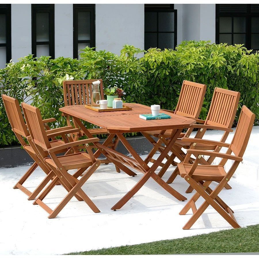 6 Seater Dining Set Eucalyptus Wood Table Chairs Wooden Outdoor