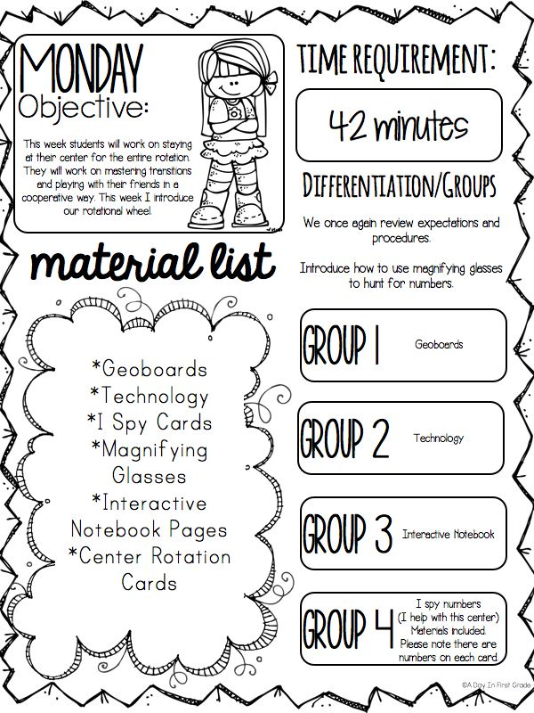 An Example Of A Lesson Plan During The First Weeks Of School - Kindergarten math lesson plan template
