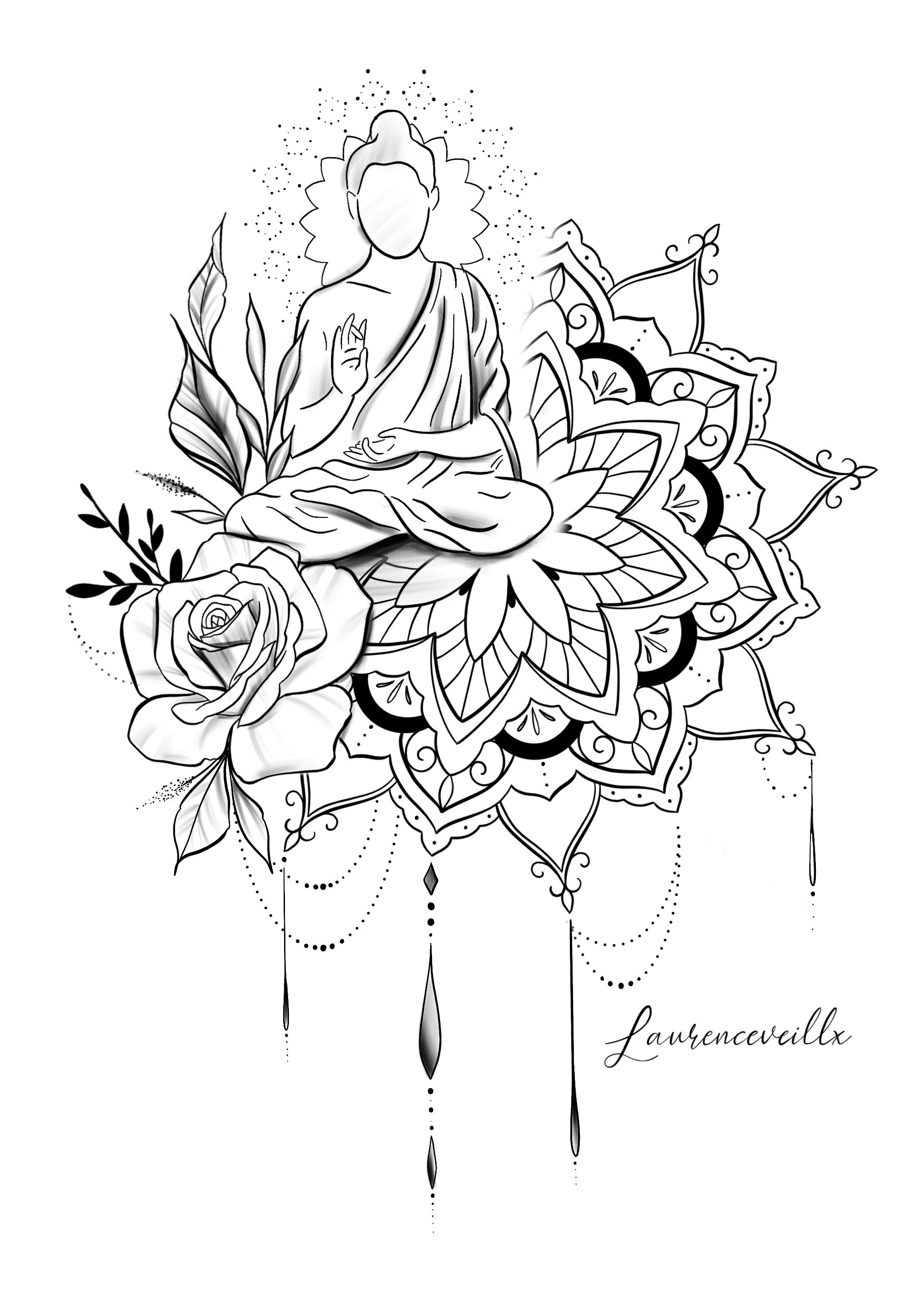 Photo of Hindou Rose Mandala Tattoo Design Available Instant Download Etsy @laurenceveillx