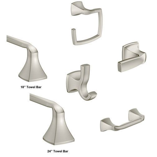 master bath accessories moen voss in brushed nickel to include towel rings paper holder tank lever and robe hooks - Bathroom Accessories Moen