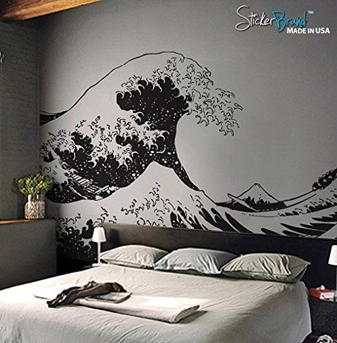 Stickerbrand Asian Décor Vinyl Wall Art Japanese Hokusai Great - Vinyl wall decals asian