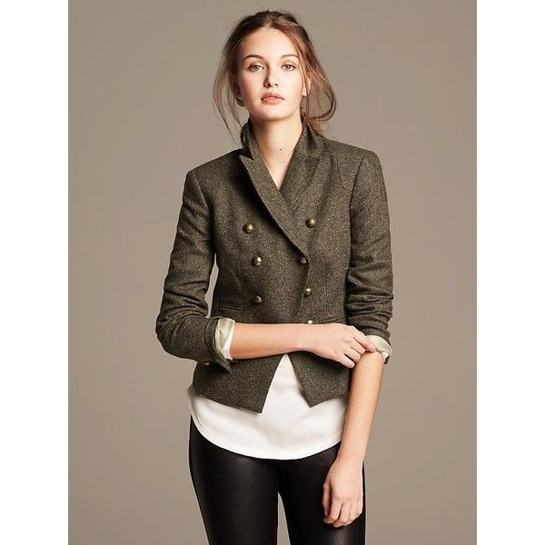 Banana Republic Womens Olive Double Breasted Blazer Size 16 - Warm olive  found on Polyvore featuring