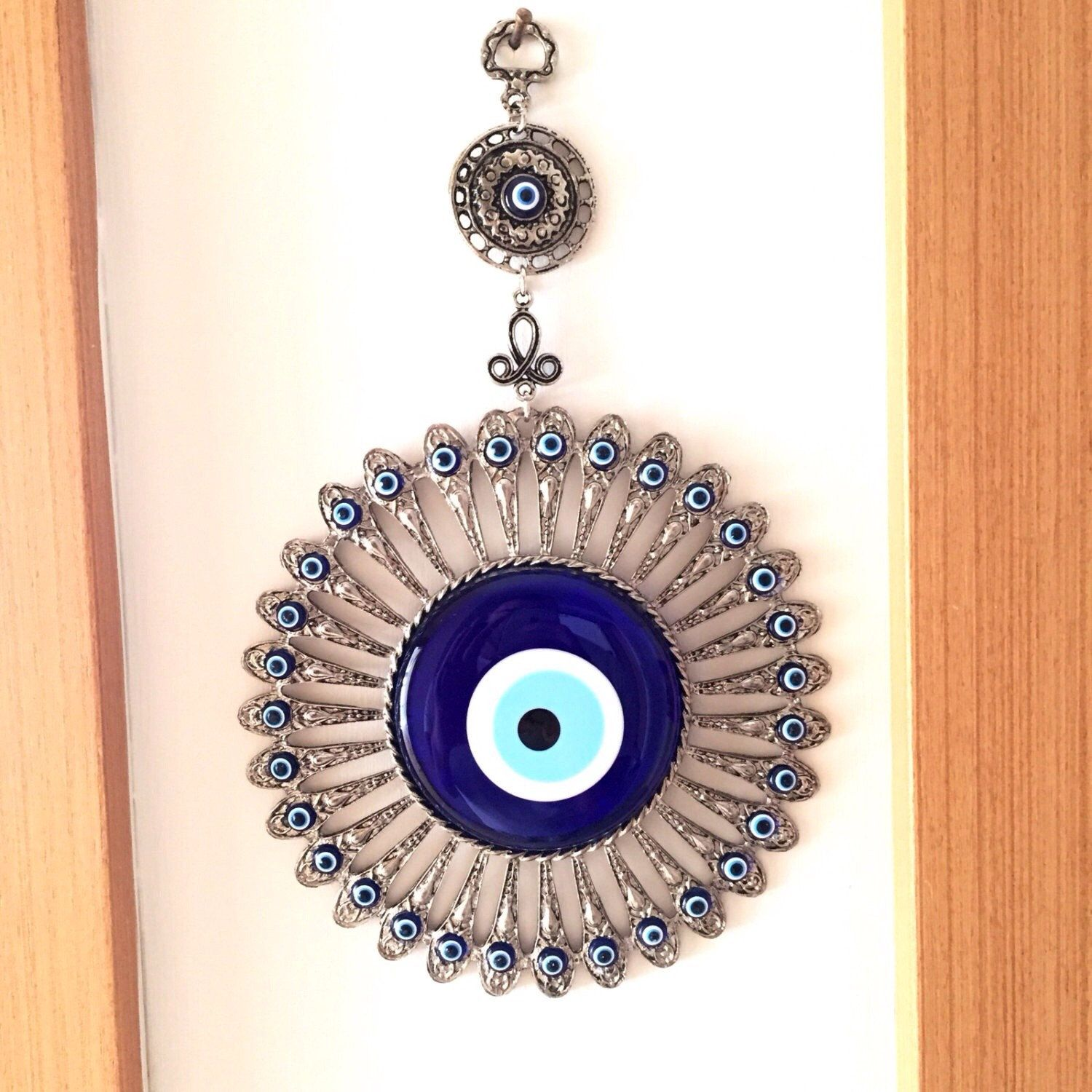 Blue glass evil eye wall hanging metal finecut antique magic blue glass evil eye wall hanging metal finecut antique magic evil eye turkish buycottarizona Image collections