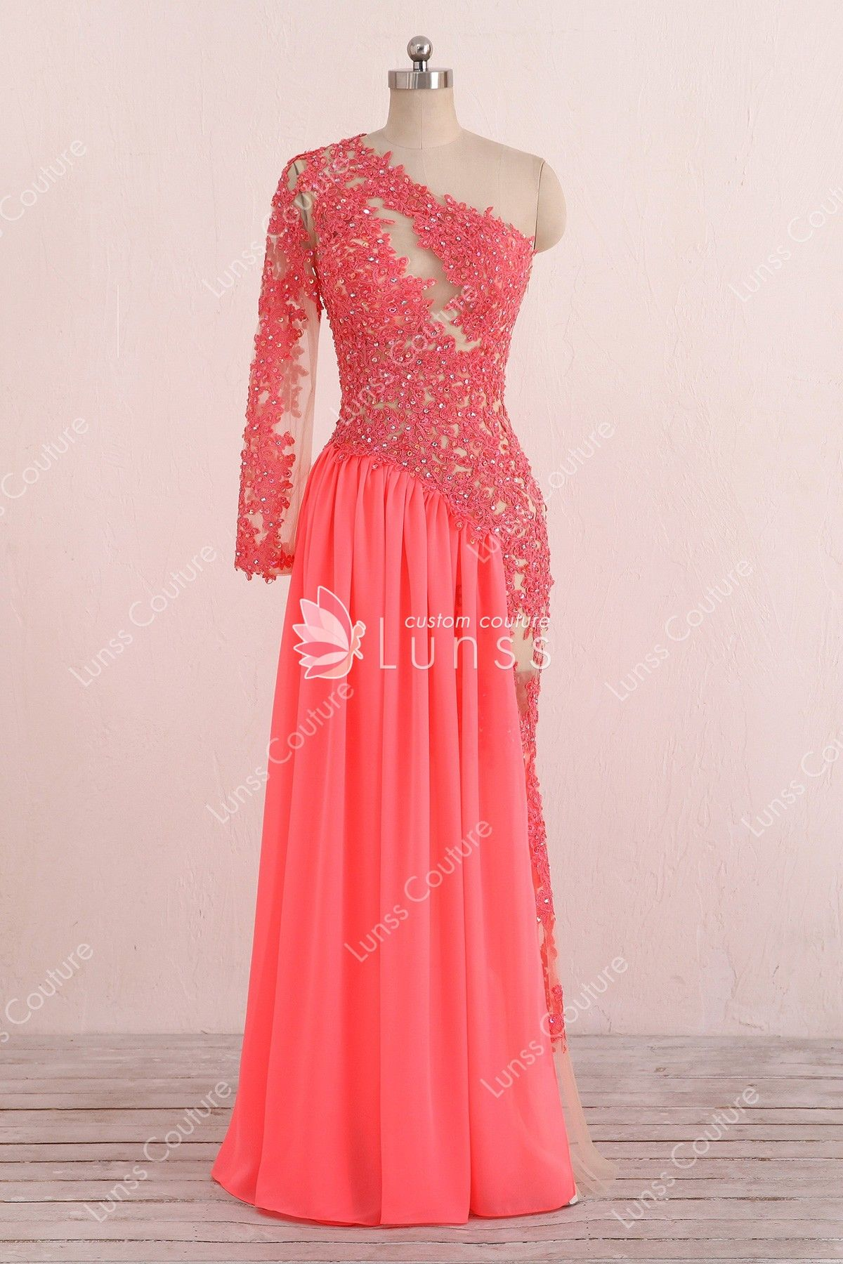 d08759a473b8 Asymmetrical One Shoulder Watermelon Lace and Chiffon Homecoming/Prom Dress