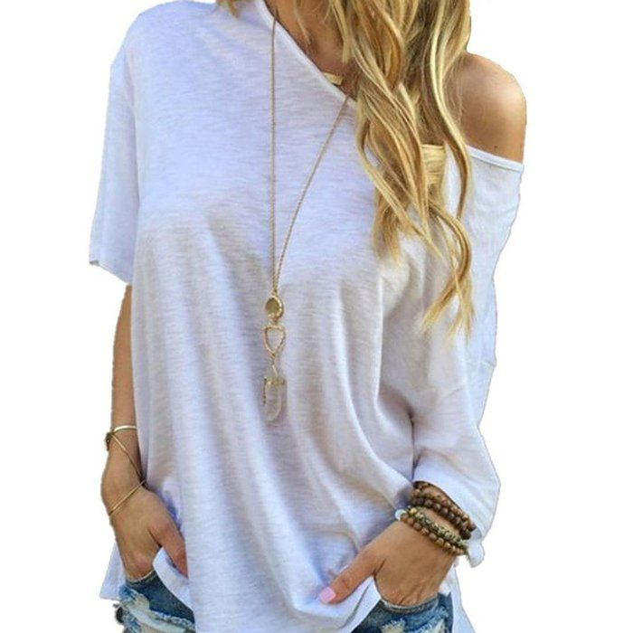 Blouse Clearance Sale! Canserin women Half Sleeve Off shoulder Casual Shirt (M, White)