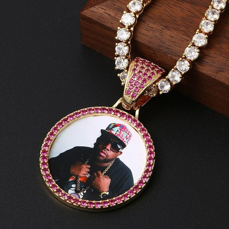 Custom Photo Medallions Necklace With Back Engrave With Name & Date – Tennis Chain 20inch Gold Purple Crystal