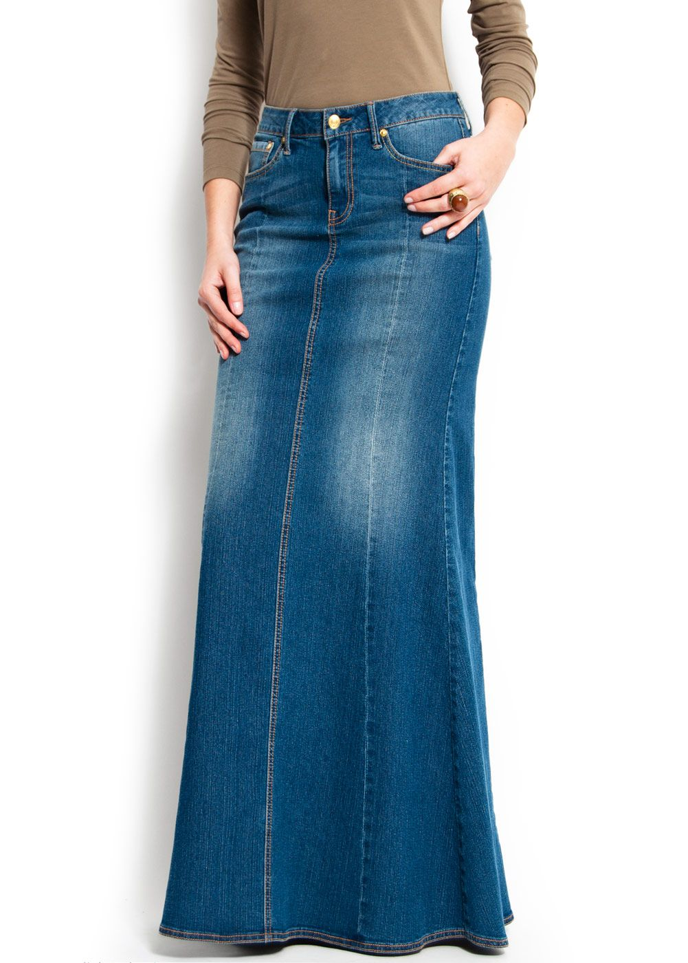 7bd204a2fb love this long denim skirt! I really feel its time these made a comeback. I  used to live in a skirt like this.