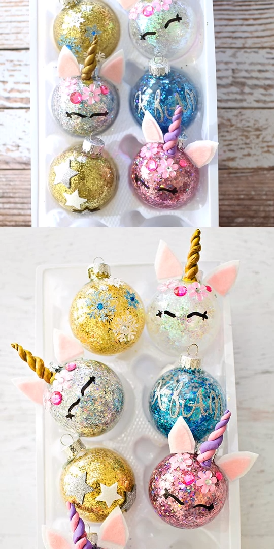 DIY Glitter Christmas Unicorn Ornaments. Make this colorful, magical Christmas craft! Fun for kids Christmas art project. #hellowonderful