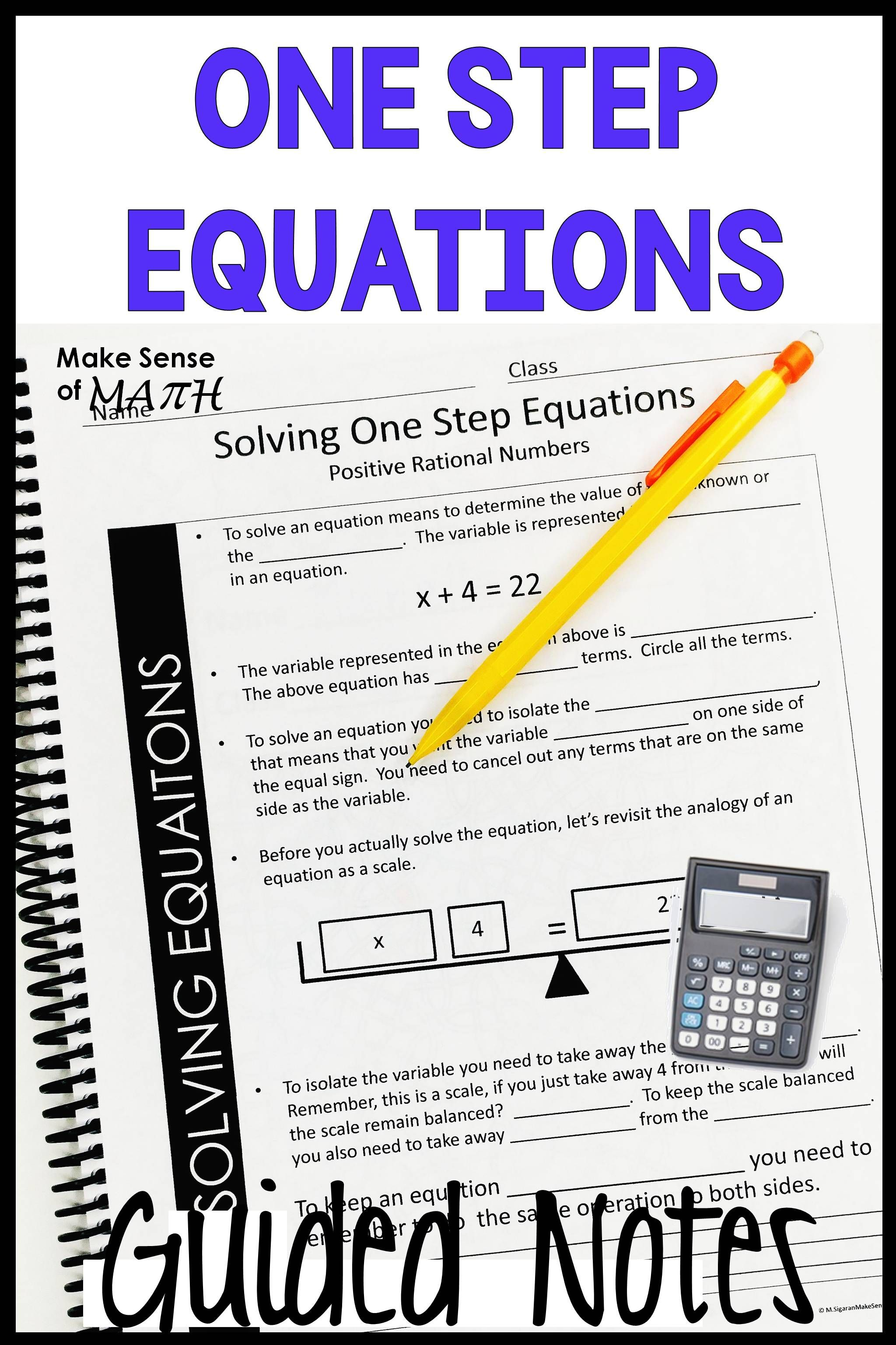 Solving One Step Equations Guided Notes