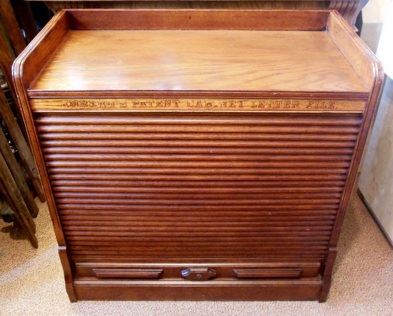 RARE Amberg's Patent Wood Cabinet Letter File Tambour Roll ...