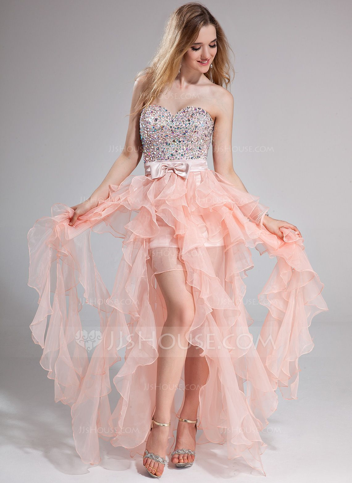 A-Line/Princess Sweetheart Floor-Length Organza Charmeuse Prom Dress ...