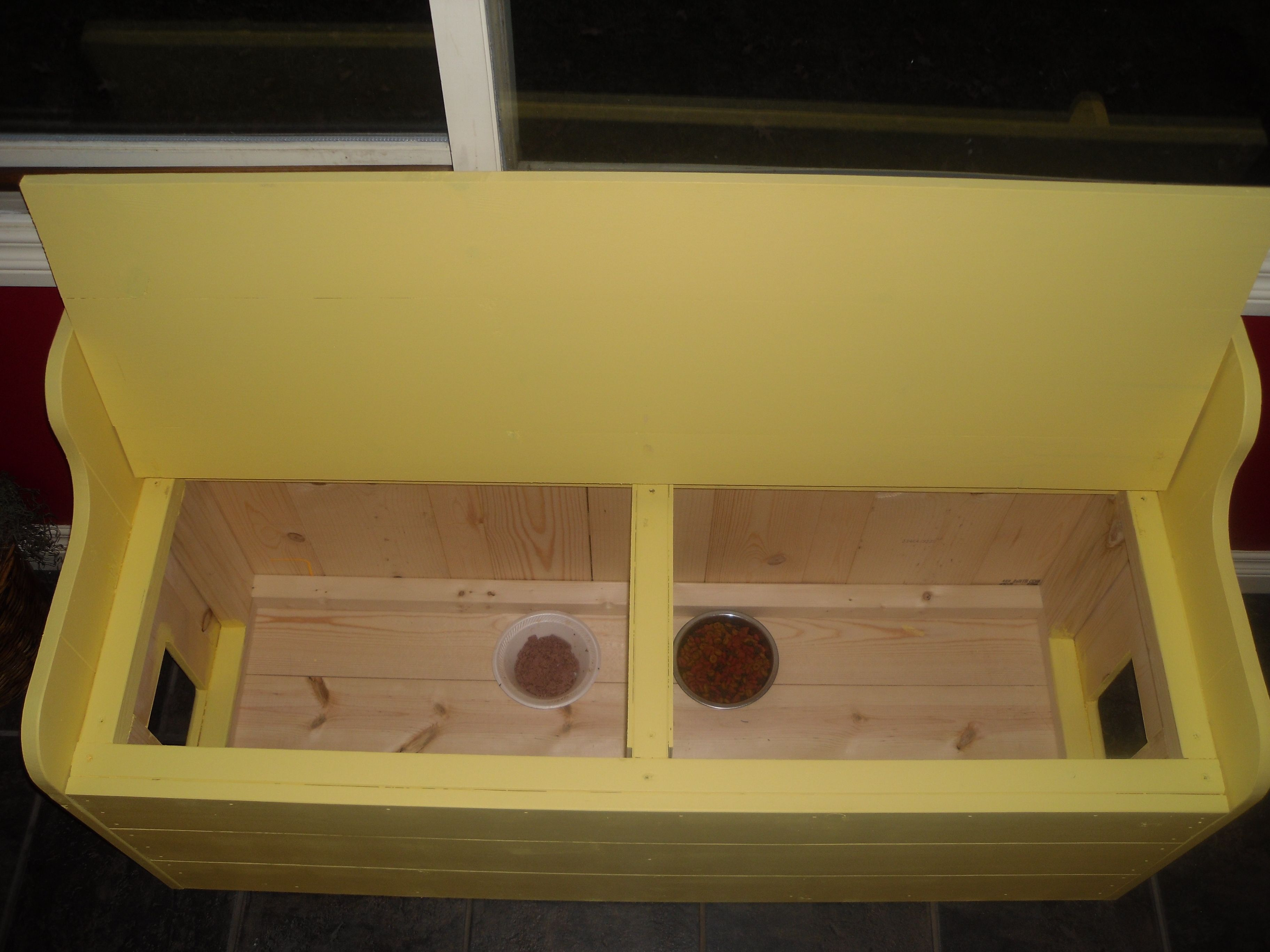 Inside View Of The Kitchen Bench Hidden Cat Feeding Station That