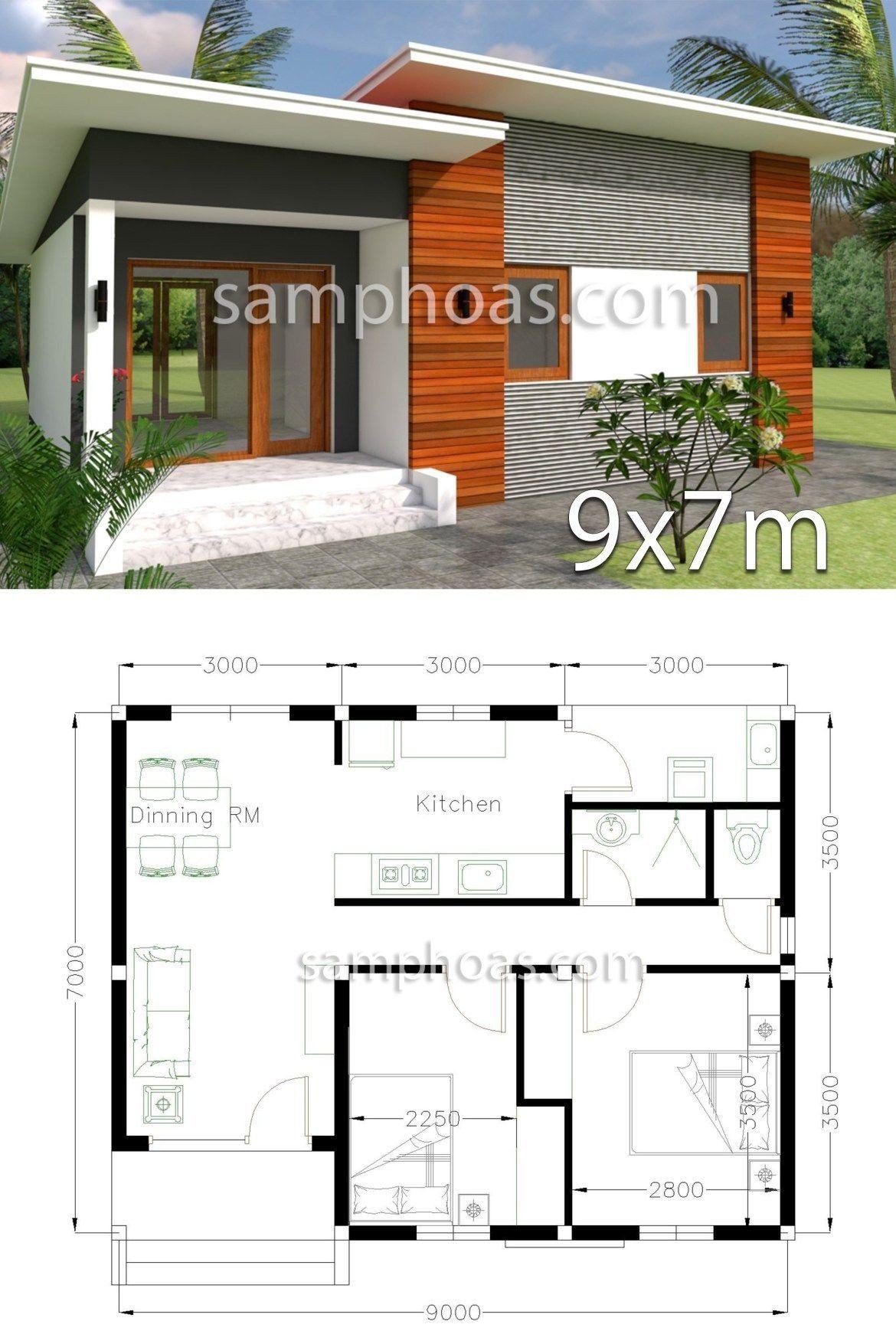 Modern House Design Ground Floor Plan 3d Home Design 9x7m 2 Bedrooms House Designs Exterior Modern House Plans Small House Design