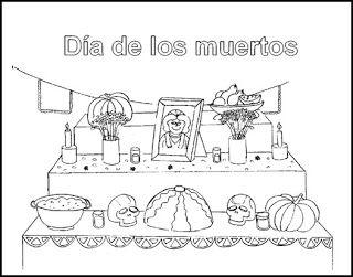 Para Colorear Spanish Class Altar De Muertos Dibujo Dia De