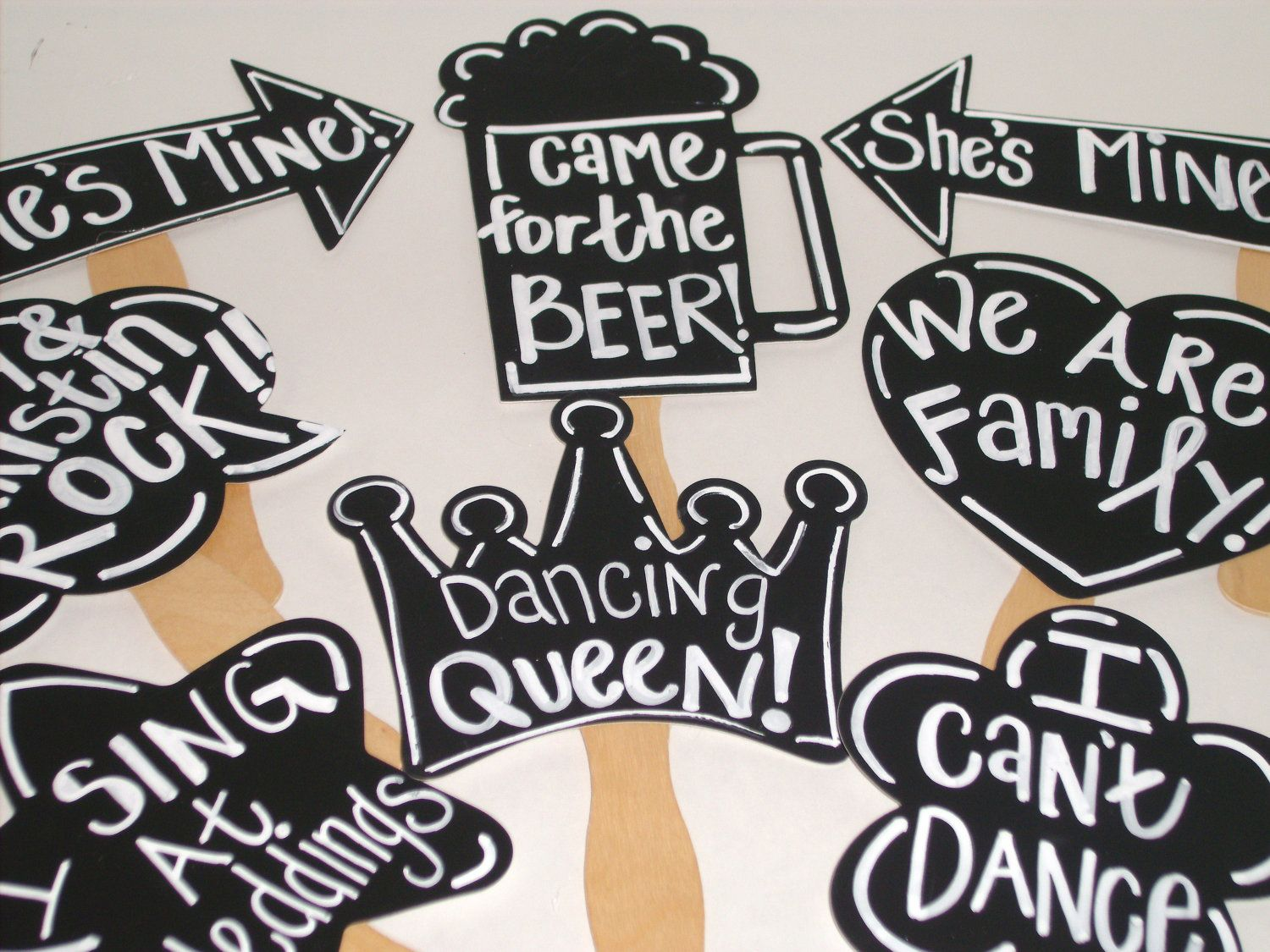 Chalkboard Photo booth Props - Wedding Photo Props -Fast Shipping.
