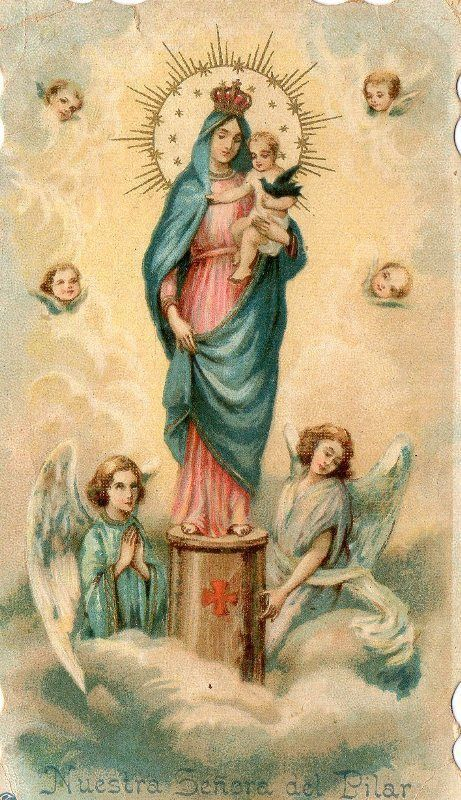 ANTIQUE RELIGIOUS HOLY CARD OUR LADY PILLAR