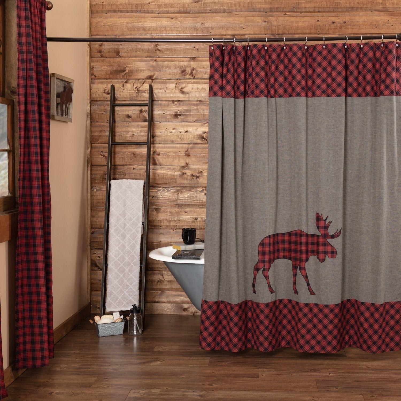 Red Rustic Bath Shasta Cabin Moose Shower Curtain Rod Pocket