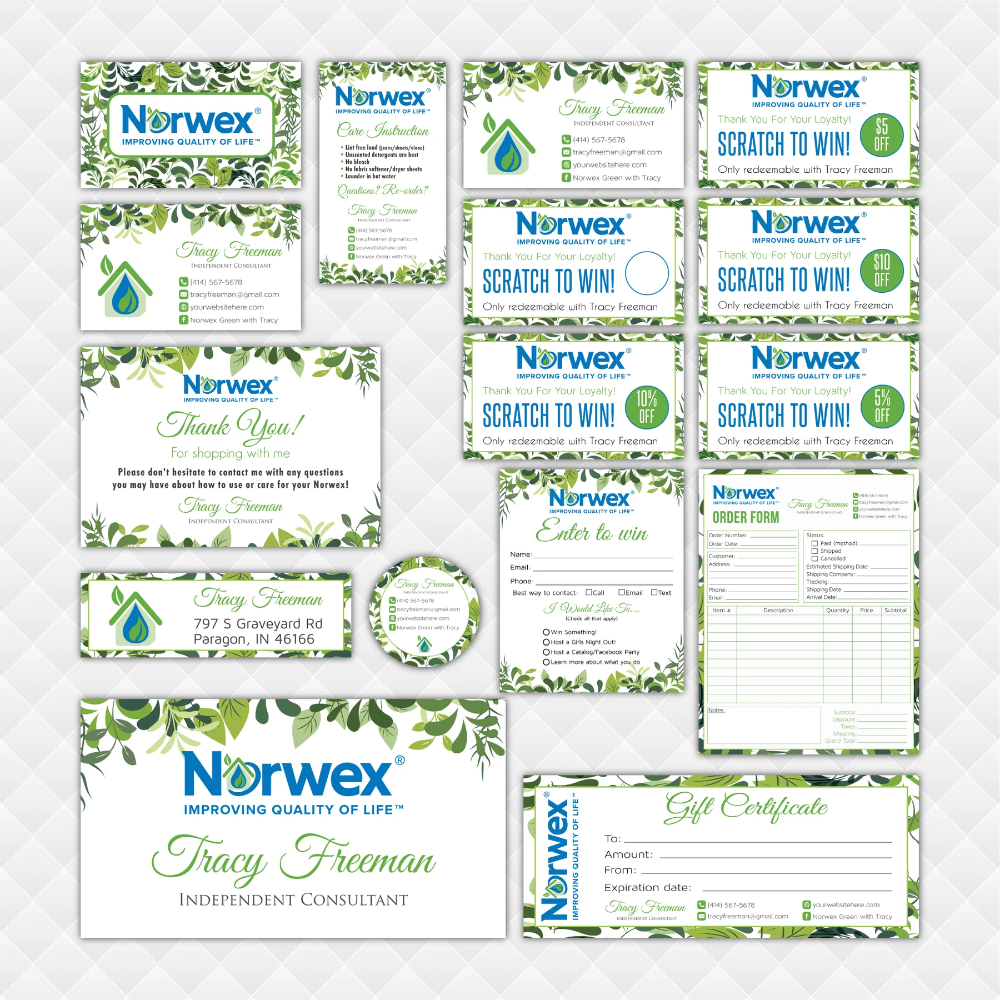 Norwex Marketing Bundle Personalized Norwex Package Norwex Template Nr23 Cleaning Business Cards Personal Business Cards Personal Cards