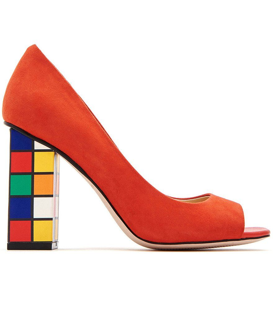 Katy Perry The Caitlin Suede Multi Color Block Heel Pumps