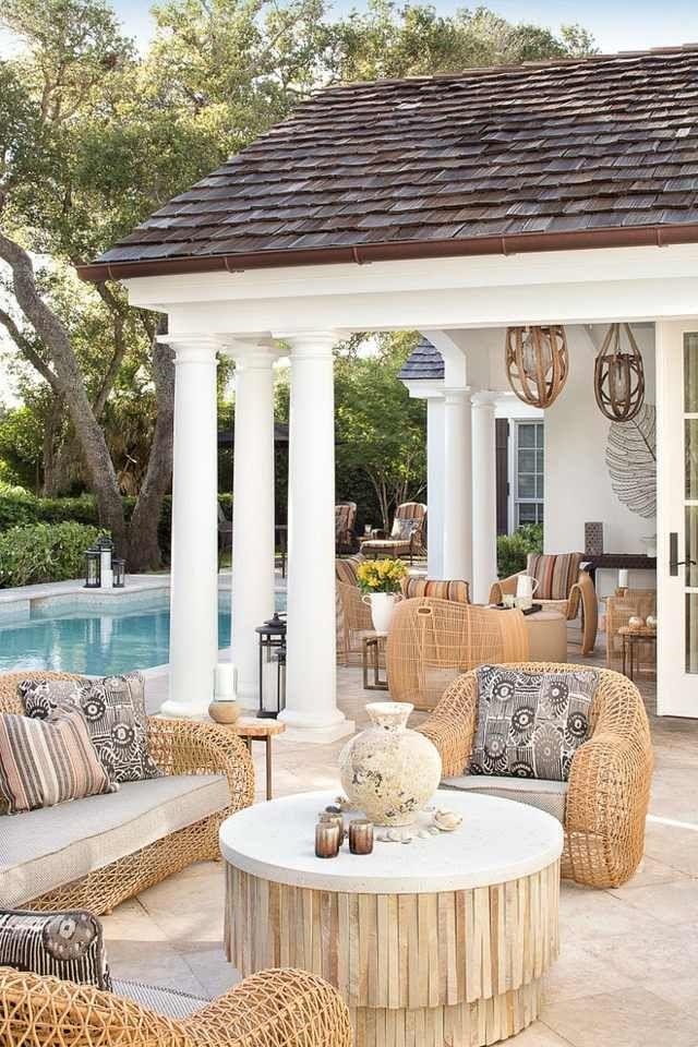 Gestaltung Terrasse gestaltung terrasse klassischer stil rattan möbel terasse