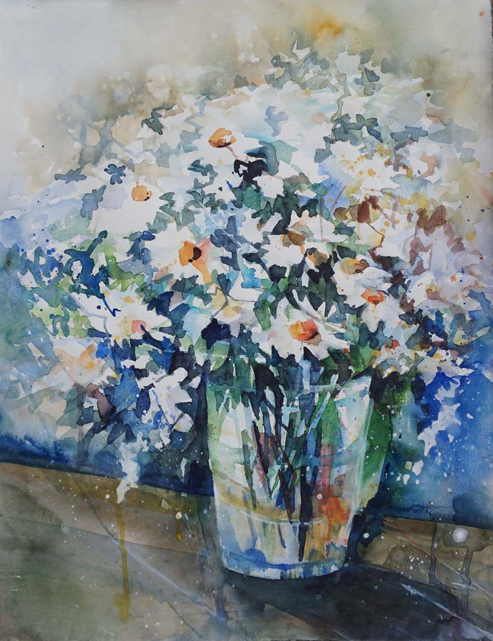 Expressive Aquarellmalerei Blumen Aquarell Aquarell Kunst Und