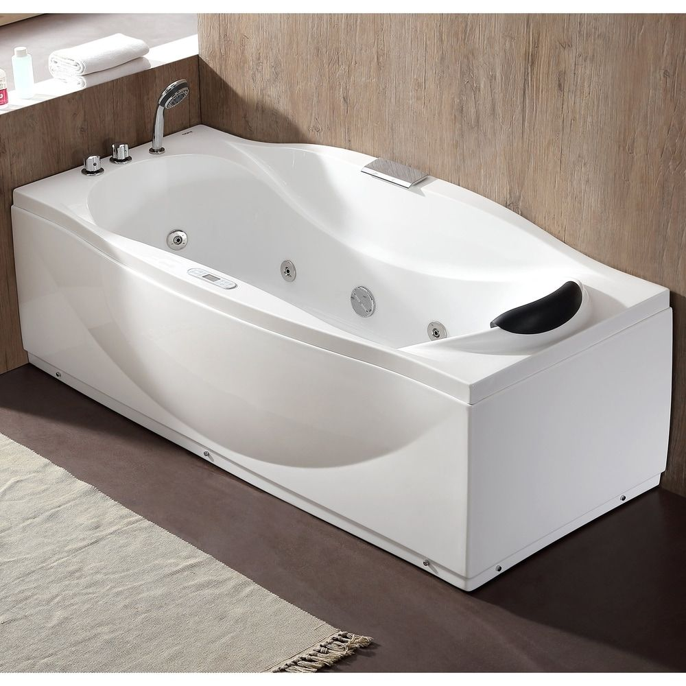 Eago 6 Ft Left Drain Acrylic White Whirlpool Bathtub W Fixtures In 2020 Whirlpool Bathtub Soaking Bathtubs Bathtub Drain