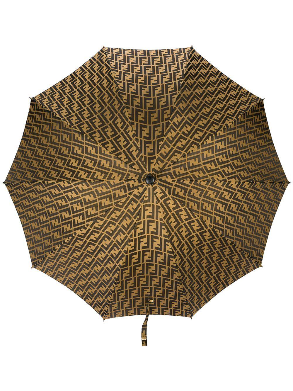 Fendi Vintage Double F Logo Umbrella Brown Modesens Fendi Umbrella Vintage