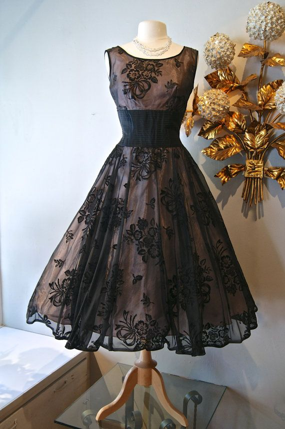 50s Dress // Vintage 1950s Fabulous Floral by xtabayvintage Gorgeous black lace fabric with a wide obi belt