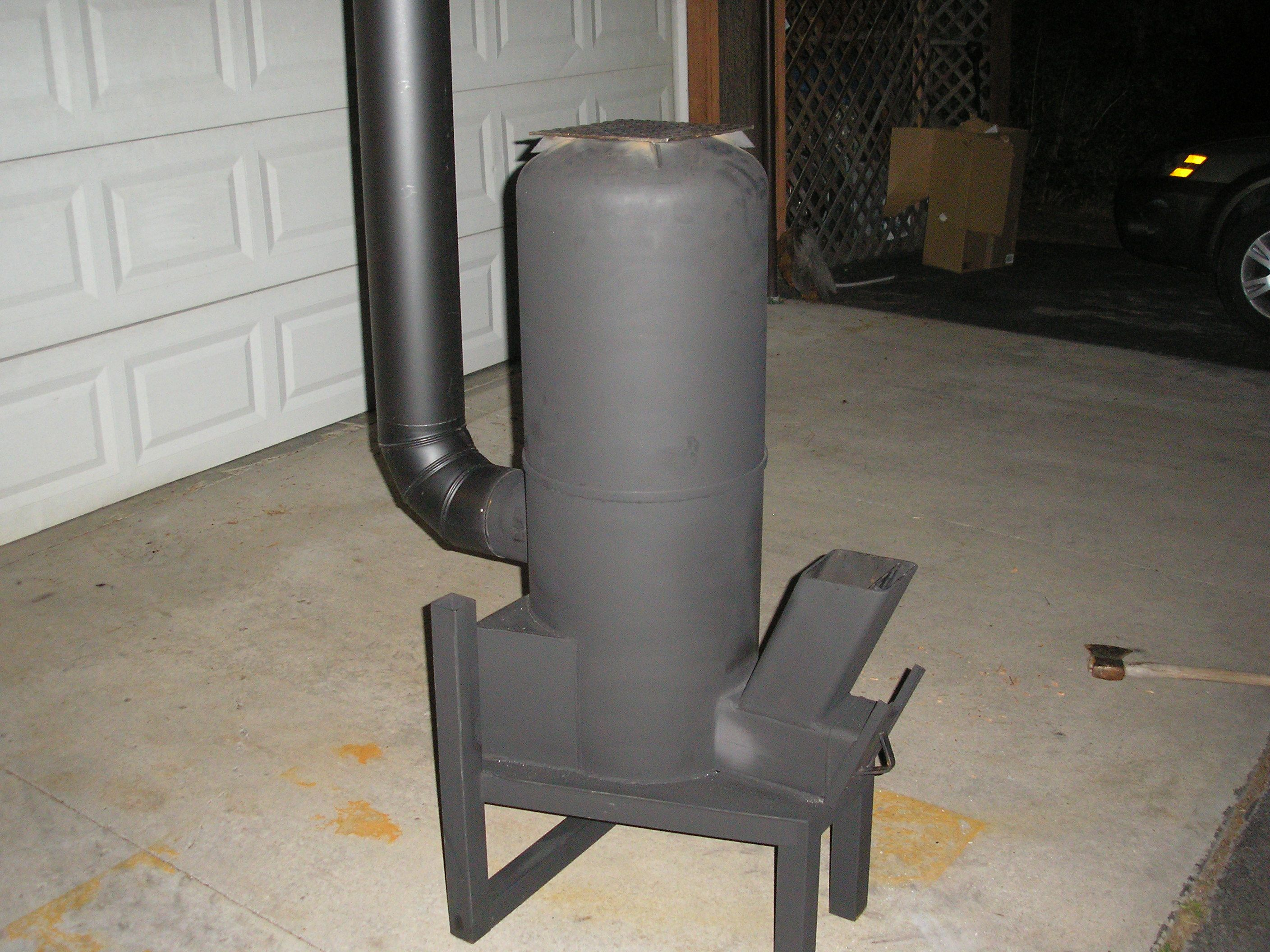 Diy Rocket Stove Heater With Hot Water And Hot Air Exchanger This
