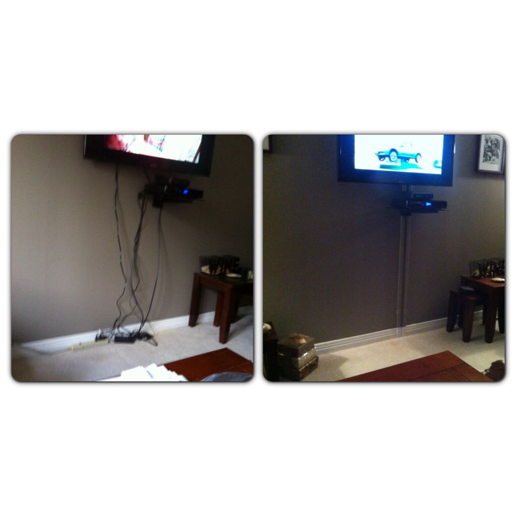 Before And After Wall Mounted Tv Cords Buy The Cord Hiding Kit At