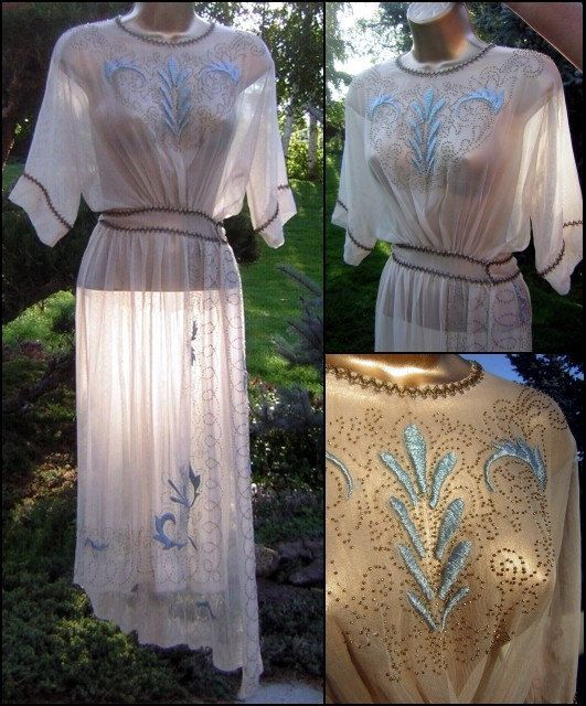 Vintage Edwardian Sheer Beaded Embroidered Gown by DecadencePast