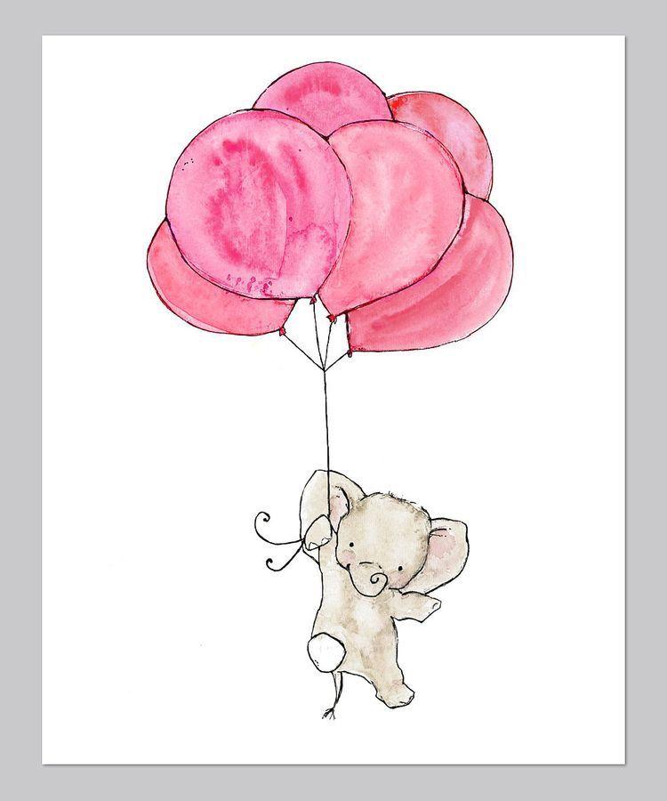 Elephant flying away with balloons elephants etc pinterest dessin peinture and dessin b b - Dessin elephant ...