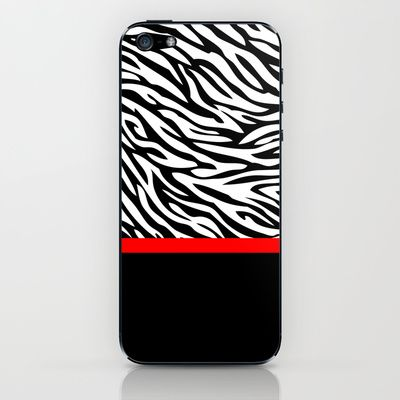 Zebra Red & Black iPhone & iPod Skin by aisha richardson - $15.00
